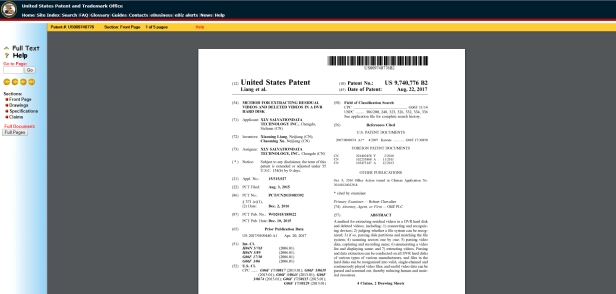 USPTO patent SalvationDATA DVR Forensics